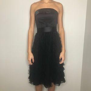 White House black market black silk cocktail dress